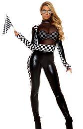 f2c59de7e25 Vocole Mujeres Negro Sexy Cofre de PVC Transparente Con Sujetador Mono Mesh  Etapa Vinly Disfraz F1 Racing Car Driver Árbitro Ropa