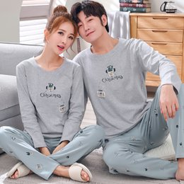 ddb37b81d9 Men Clothing Autumn 100% Cotton Couple Pajamas Men Women s Pijama Lady Pajama  Sets Fashion Lounge Sleepwear Gift