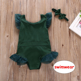 $enCountryForm.capitalKeyWord Canada - Baby Girls Green Romper Toddler One-piece Bodysuit lace Swimwear Summer Swimsuit Bathing Cute Costume 6size for choose