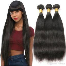 24 inch straight malaysian hair 2019 - Indian Straight Human Hair Extensions 3 Bundles Mongolian Virgin Hair Weave Bundles Natural Black Color Free Shipping di