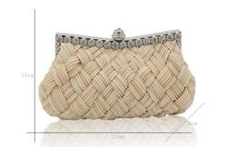 Knit Fabric Prints Canada - Evening Bags 2018 Knitted Handbags Women Handmade Woven Evening Bags For Wedding Bridal Handbags Clutch Bag Shoulder Small Purse Holder Bags