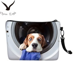 Dog Zipper Australia - Hynes Eagle Brand Women Cosmetic Bags Fashion Cute Cat Dog 3D Printing Toiletry Bag Canvas Makeup Cases Handbags Clutch Bag