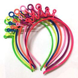 Plastic Princess Australia - Bright Color Plastic Crown Headbands Girls Neon Color Tiaras Hair Bands Princess Children Hair Accessories 12pcs lot
