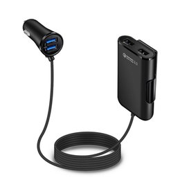 Chinese  4 USB Ports Fast Charger Quick charge QC 3.0 Car Charger Universal USB Fast Adapter With Extension Cable For iphone Samsung Smartphone manufacturers