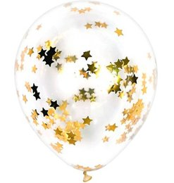 Clear Wedding Balloon UK - 10pcs lot Clear Balloons Gold Star Foil Confetti Transparent Balloons Happy Birthday Baby Shower Wedding Party Decorations