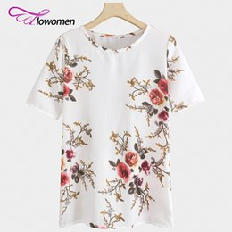 Womens Fitted Tees NZ - FLOWOMEN 2017 Casual T-shirt Womens Multicolor Flower Print Scalloped Tops Short Sleeve Tee Regular Fit Floral Women T Shirts