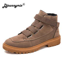 hook motorcycles Canada - DJSUNNYMIX Fashion Men Boots High Quality PU Leather Ankle Boots Autumn winter Motorcycle Shoes male Casual Shoes size 39~44