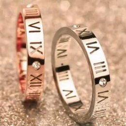Discount engagement couple ring gold diamond - Wholesale- Couple ring fashion brand Rose Gold Roman Numeric Ring Couple Rings Diamond Rings Titanium Steel ring for gif