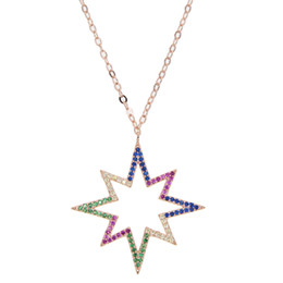 $enCountryForm.capitalKeyWord NZ - Newest Design Blue red CZ Crystal Micro Paved Howllow Lucky Star delicate Necklace For Women Girls rose gold dainty Jewelry