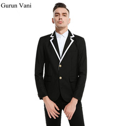 6c63ac0435f0d Мужской уникальный воротник блейзер костюм мужская мода куртка костюмы Slim  Fit партии блейзеры мужская брендовая одежда две кнопки сценические костюмы