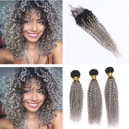 Discount gray curly weave - Dark Roots Grey Ombre Peruvian Kinky Curly Human Hair Lace Closure with Bundles 1B Gray Ombre Virgin Hair Weaves with Cl