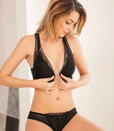 010c8e4682810 Sexy plus size ladies Bra panty Set wireless fashion Push up Thin Cotton  Cup bras black Lace Underwear Front Closure Intimates For Women