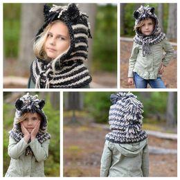 Crochet For Babies NZ - 2 Colors Lovely Unicorn Hats And Scarf Set Windproof Hats For Kids Crochet Headgear Soft Warm Hat Baby Winter Beanies CCA10531 10pcs