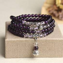 6mm Mala Beads Australia - New Fashion 6mm Amethyst Beaded Bracelet Prayer Beads Muti-Layer Rosary Mala Bracelet for Mediatation Can Drop Shipping