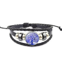 Chinese  Noosa Tree of Life Braided Bracelet 18mm Cabochon Glass Ginger Snap Button charm Multilayer Wrap Bangle For women Fashion DIY Jewelry manufacturers
