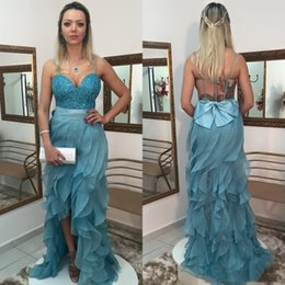 $enCountryForm.capitalKeyWord NZ - Sweetheart Ruffles Thigh High Slits Bow Shiny Hollow Floor Length Sexy Custom Made Evening Dresses Prom Dresses