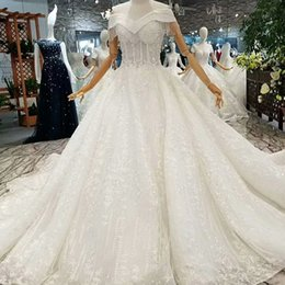 $enCountryForm.capitalKeyWord Australia - Original Ivory Wedding Dress Beaded Sweetheart Lace Up Back 2019 Latest Design Tassel Off The Shoulder Wedding Dress Corset With Long Train