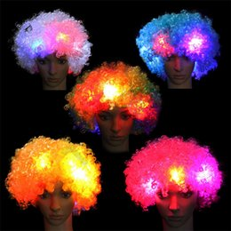Discount soccer party decorations - Halloween Christmas Explosive head wig Disco fluffy soccer fan LED wigs Circus Fancy Dress Hair Xmas Party Cosplay clown