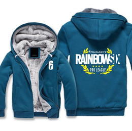 Discount rainbow hoodies - Game RAINBOW SIX SIEGE Hoodie Winter Thicken Fleece Jacket Cotton Coat Long sleeves Pullover sweatshirt Zipper Tops Plus
