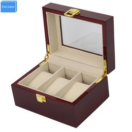 glasses display cases Canada - France Italy UK DE Luxury Wood Glossy Lacquer 3 Grids Watch Box&Case 3 Display Jewelry Glass Window Top Organizer Custom Watch Boxees logo