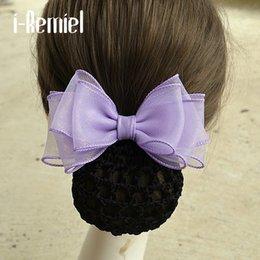Crochet Snood Hair Net Australia - i-Remiel Ribbon Tulle Stylish Bow Bun Net Snood Crochet Hair Jewellery Hair Accessorie Hair Accessories For Women Tiara Lady