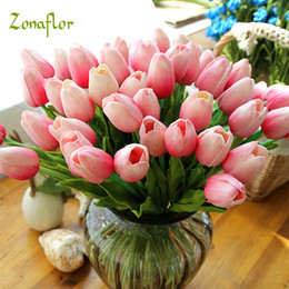 Real Touch Tulip Bouquet NZ - 25pcs lot Tulip Artificial Flower 2017 Real Touch PU Artificial Bouquet Flowers For Home Decoration Wedding Flowers