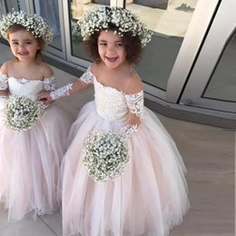 $enCountryForm.capitalKeyWord NZ - 2019 New Pink Princess Ball Gown Flower Girls Dresses Sheer Neck Tulle Long Sleeves Appliques Lace Toddler Wedding Party Dress Birthday