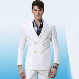 best three piece suit design NZ - Latest Coat Pant Designs White Men Suits for Groom Wedding Tuxedos Ivory Double Breasted Slim Fit Best Man Blazers Jacket 2 Piece Prom