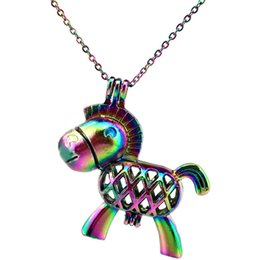 $enCountryForm.capitalKeyWord NZ - C66 Rainbow Color Cute Horse Beads Cage Pendant Essential Oil Diffuser Aromatherapy Pearl Cage Locket Pendant Necklace
