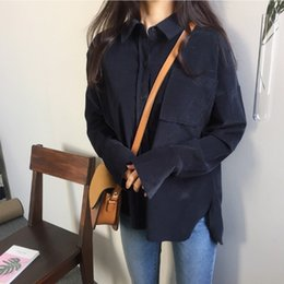 Wholesale Korean Womens Clothes Japan Solid Color Long Sleeve Fashion Corduroy Blouse Tops Loose Slim Pocket Button Up Femme Navy Shirts