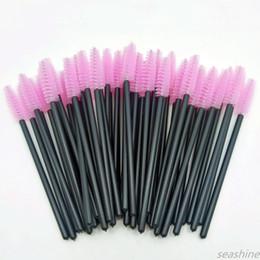 Seashine 50 pcs lot Pink Disposable Mascara Wands Mini Eyelash Brushes Mascara Wand Applicator Micro Spoolie Brushes for Eye Lash Make-up on Sale