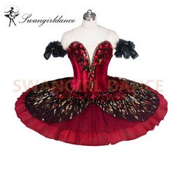 Red Flame bird Variation Competiton Red Black Bird Schiaccianoci Swan Ballerina Tutu Classic Adult KidsBT9045A