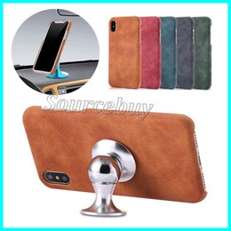 Wholesale Luxury Retro Magnetic Suction PU Leather Case For iPhone X Car Holder Stand Magnetic Suction Cases Back Cover Cell Phone Bags Shell