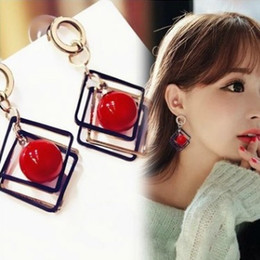 Led Accessories For Parties Wholesale UK - New Geometry Cherry BRIDE EARRING Grace fashion Earrings for women Charm cute girl ear jewelry accessories chic nickel free lead free