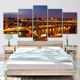 Стены Искусства Плакат Печатает Nightscape Холст Фотографии 5 Шт. Порто Понте Дом Луис I Мост Огни Живопись Гостиная Home Decor
