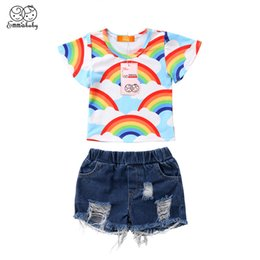 24c343c42791 Cute Kids Girls Clothes Set 2018 Summer Baby Girls Rainbow Short Sleeve  Tops T-shirt Denim Hole Short Pants Jeans Child Outfits