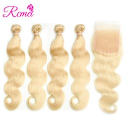 China Rcmei 613 Blonde Color Human Hair 10-26 Inch Body Wave Hair Straight Hair 4 Bundles With 4x4 Lace Closure Free Shipping cheap body wave closure free shipping suppliers