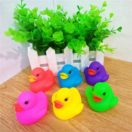 Toys Water Sound Baby NZ - wholesales 6 Colors Cute PVC Duck Baby Bath Water Toys Sounds Rubber Ducks Kids Bathing Swiming Beach Gifts Sand Play Water Fun Kids Toys