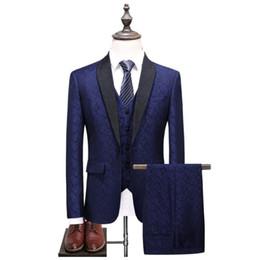 Discount wedding dresses men slim - Men Suit 2018 Wedding Suits For men's Classic Collar 3 Pieces Slim Fit fashion Suit Men Royal Blue Tuxedo Jacket Fu