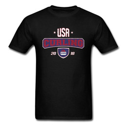 team usa clothing NZ - Top T Shirt 2018 Curling Usa Winter Bonspiel Stone Letter Print Men Black T-Shirt Team Custom O Neck Cotton Clothes