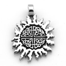 flame charms NZ - FANSSTEEL Stainless steel men's women's punk vintage jewelry sun flower flame pendant biker pendant gift for brothers FSP16W51