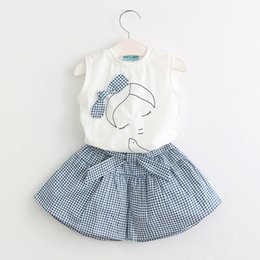 Korean shirt clothing online shopping - Fashion Baby girl clothing Outfits White T Shirts Sleeveless Bow Plaid shorts cotton set T T Korean