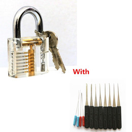 locksmith broken key extractor Australia - Transparent Visible Pick Cutaway Practice Padlock Lock With Broken Key Removing Hooks Lock Extractor Set Locksmith Tool