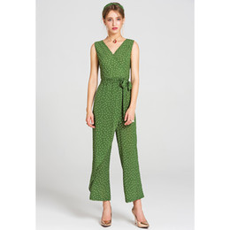$enCountryForm.capitalKeyWord NZ - 2018 new fashion white dots green jumpsuit v neck sleeveless detachable belt ruffle pants elebodysuit overalls for women