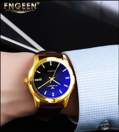 Lighting Calendar NZ - 2018 New Luxury Mechanical men Famous Brand Automatic watches dropshipping Hollow out blue light Wristwatches Genuine Leather Series