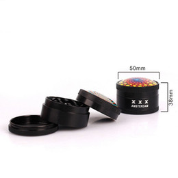 Multi Bong NZ - 50mm 3 Layers Herb Grinder Zinc Alloy Multi Colors 3D Pattern Mini Tobacco Grinders Spice Crusher for Water Pipes Bongs Wholesale 5074