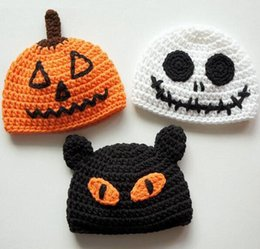 newborn pumpkin hat UK - Halloween Crochet Knitted Hat Baby Skull JACK Children Pumpkin King Beanie Infant Toddler Kids Christmas Gift Cotton Cap Newborn Photo props