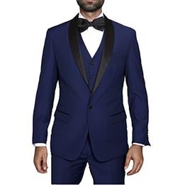 $enCountryForm.capitalKeyWord UK - High Quality One Button Navy Blue Groom Tuxedos Shawl Lapel Groomsmen Best Man Suits Mens Wedding Suits (Jacket+Pants+Vest+Tie) NO:964