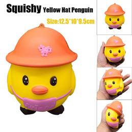 Toy Hats NZ - Wholesale Kawaii Squishy Yellow Hat Penguins slow Rising toys Cute Sweet fruit Charms Pendant Bread Kids Toy Gift Phone Straps