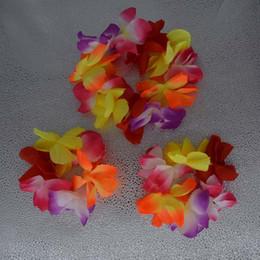 Wear Bracelet Australia - Hawaiian Flower Lei Headband Wristband Bracelet Hula Garland Wreath Headband Head Wear Women Girls